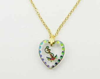 Glass Anchor Heart Pendant Necklace - NC2054