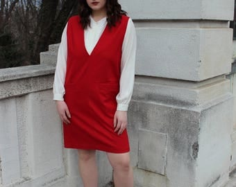 Vintage Red Wool Sleeveless V-Neck Dress