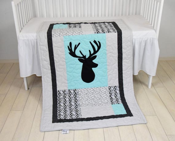 Deer Crib  Bedding,  Triangle Quilt,  Mint Gray Black Cross Baby Blanket, Deer  Head  Blanke, Hunting Blanket,  Antler Blanket