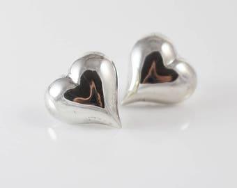 Puffy Heart Silver Ladies Stud Earrings Stamped 925