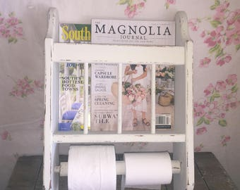 Vintage Wooden Wall Magazine Rack/Toilet paper/Towel Holder - Upcycled - Painted Old White - Bath Decor - Shabby Cottage Chic/ Vintage Bath