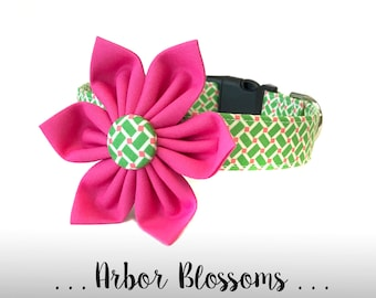 Pink and Green Dog Collar Flower Set; Dog Flower and Collar: Arbor Blossoms
