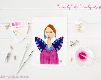 Art Print / Painting Invitation Stationary Card / Woman Angel Purple Wings / Woman Portrait Colorful Art / Craft Project Print at Home DIY