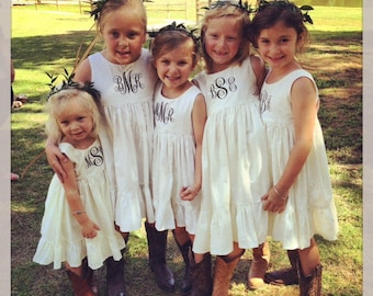 Monogrammed Flower girl dresses,  boho rustic flower girl, fairytale wedding, flower girl dress, flower girl monogram
