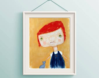 Girl Painting Abstract figure, Children's art, Ugly Cute art, Red haired girl, Nursery, Mixed media art, figure painting, child's room decor