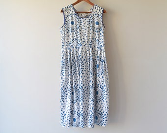 1940s / 1950s Shattered Florals Day Dress / Vintage 40s / 50s Blue and White Abstract Dress / Medium