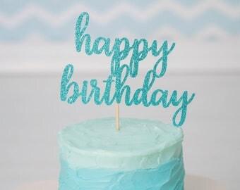 Happy Birthday Cake Topper - Glitter - Birthday. Smash Cake Topper. Birthday Party. First Birthday. Birthday Cake Topper. Birthday Decor.
