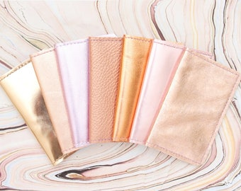Natural leather credit card wallet. Business card case. Double credit card holder. Metallic leather wallet. Rose gold metallic copper.