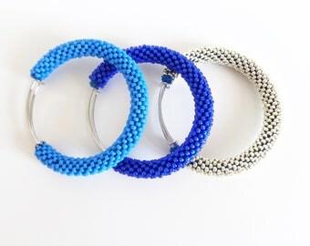 Brass Bracelets // Aluminum Bangle Bracelets // Sapphire Blue Bangle // Blue Beaded Accessories // Crocheted bracelets // Bangles Tris