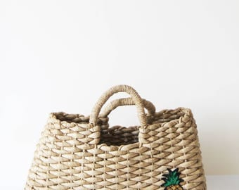 Vintage Straw Basket - Vintage Woven Straw Basket Bag with Appliqued Sequin Pineapple Patch - Summer Accessories - Boho Chic