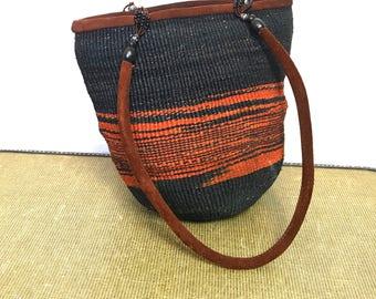 Vintage Boho Sisal Purse 70's Straw Bag Tote Hippie Purse Hippie Handbag  Boho Handbag Basket Bag Leather Handles Black Orange Market Bag