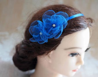 Birthday Headband,Girl Hair Gift,Toddler Girl Headband, Shabby Headband, Party Girl Headband, Blue Flower Girl Headband,Royal Blue Headband