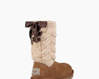 Custom Crystal UGG Boots Mid Rise Tall Kiandra Knit Crochet Lace Satin Bow 3 color w/ Swarovski Bling Rhinestone Winter Dynamite Gift Shoes