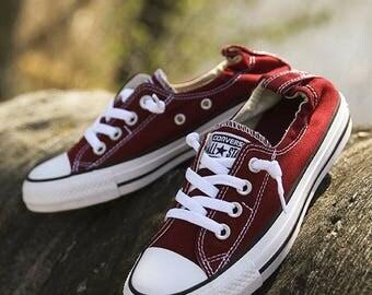 Custom Converse Shoreline Slip on Burgundy Maroon Red Wine Kicks w/ Swarovski Crystal Rhinestone Bling Chuck Taylor All Star Sneakers Shoes