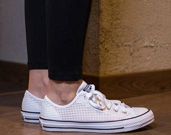 Converse White Low Top Chuck Taylor Perforated Air Conditioning Custom Kicks w/ Swarovski Crystal Rhinestone All Star Wedding Sneakers Shoes