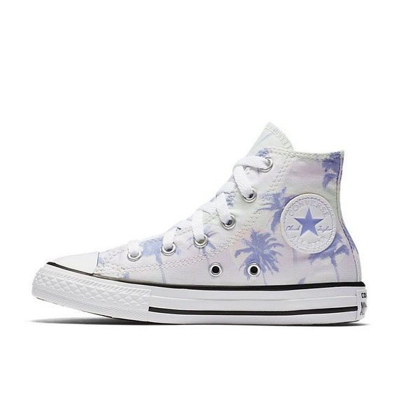 Kids Converse High Top Toddler Youth Beach Palm Tree Tie Dye Easter Kicks w/ Swarovski Crystal Chuck Taylor All Star Children Sneakers Shoes