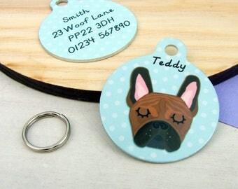 Dog Tag French Bulldog  - Frenchie Dog ID Tag - French Bulldog Collar - Frenchie Name Tag