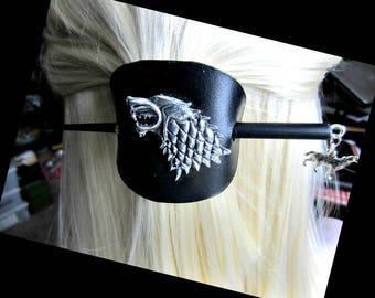 Fierce Wolf Hair Slide, Black Leather Barrette, Silver Wolf Barrette, Brown Leather