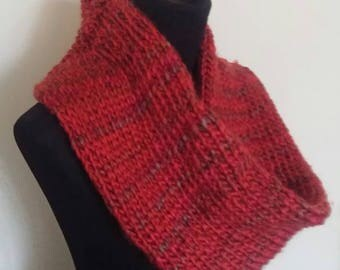 Hand knit, chunky, cowl scarf, infinity scarf. Gift, autumn/winter colours.