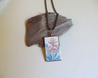 Aloe plicatilis, fan aloe, botanical print, vintage art, mixed media, grad gift, gardener gift, botanist, nature, plant pendant  (NBX2009)