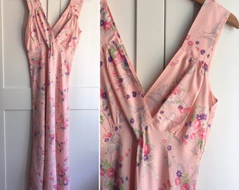 1930s Floral Nightgown, Bias Cut V Neckline Pink Floral 30s Nightgown, 1930s Dress
