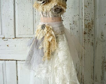 Tattered boho dress form figure shabby cottage chic 41 tall mannequin antique vintage lace tulle millinery flowers decor anita spero design