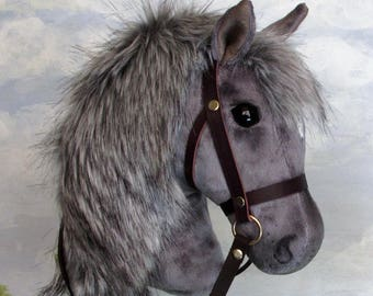 Hobby Horsing smaller dark dapple grey hobby horse (stick horse) top quality with removable leather bridle. For younger children.