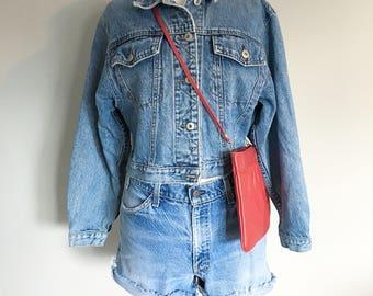 Vintage  1990s CROPPED DENIM JACKET/ Jean Jacket/ Size Small-Medium
