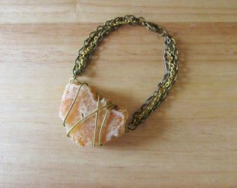 Wire Wrapped Carnelian Agate Multistrand Bracelet
