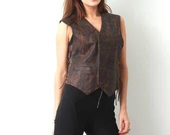 Vintage Leather Vest / Brown Leather Vest / Cima Line by Schlier / Lace Sided Vest / Motorcycle Vest / Moto Vest / Medium Vest / Biker Vest