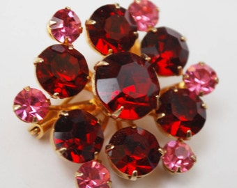 Coro Rhinestone Brooch - Ruby Red and Pink - Flower Floral - Atomic -  mid Century  pin