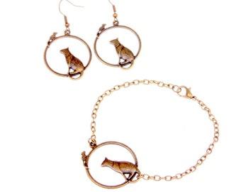 Set Bracelet and Earrings cat