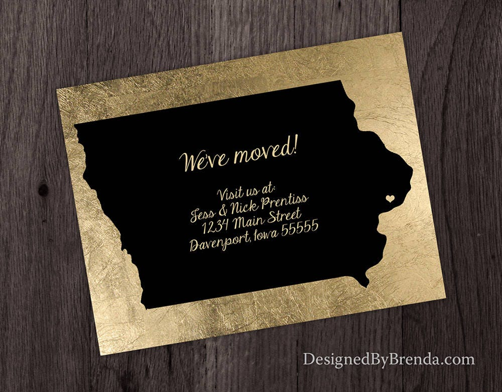 Black & Gold Change of Address Postcard - Shown with Iowa, can be ...