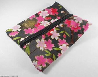 Cherry Blossom Coin Purse, Handmade Clutch, Japanese Pouch Oriental Coin Purse, Zipper Pouch Cosmetics Pouch, Change Purse Zipper Coin Purse