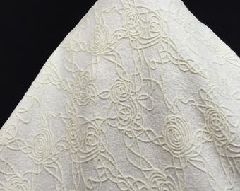Ivory Embossed Velvet, Ivory Fabric, Bridal Gown Fabric, Bridal Material, Embossed Fabric, Unique Material, Remnant Fabric, Floral Fabric