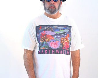 90s Earthwatch T-shirt, Marine Life T-shirt, Ocean Fish T-shirt, Coral Reef T-shirt, Ocean T-shirt, Save The Planet Tee, Extra Large, XL