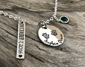 Birthstone necklace for mom silver | Birthstone necklace mother | Birthstone necklace silver | Sterling silver | Mother name necklace
