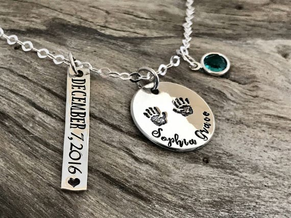 New Mom Necklace, Baby Handprint, Hand Print Name Necklace, Sterling Silver, New Baby Necklace, Baby Shower Gift for Mom, Baby Hand Print