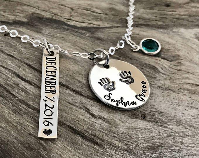 Birthstone necklace for mom silver | Birthstone necklace mother | Birthstone necklace silver | Sterling silver | Mother name necklace