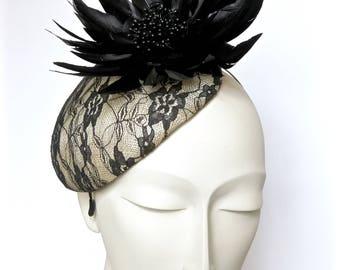 Kentucky Derby Black and White Fascinator Black White Straw Hat Black White Church Hat