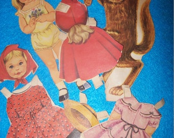 Vintage Little Red Riding Hood and Big Bad Wolf Paper Dolls