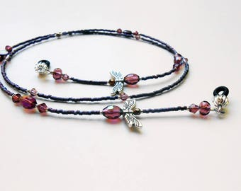 Eyeglass Chain - Beaded Purple Eyeglass Chains - Eyeglass Holders - Reader Eyeglass Chain - Dragonfly Beaded Eyeglass Chain -EC16210