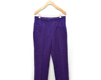 70s Purple Wool Pants Women's 16 Pleated
