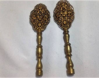 Pair of Goldtone/Brass Filigree Finials