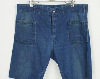 Vintage 1960's Seafarer Dungaree Indigo Denim Cut-Off Shorts size 37