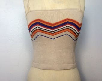 1990s Cropped Tabk Top in 1970s Style Size XS/S
