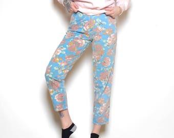 Vintage 80's BONJOUR Floral Jeans Sz 26W