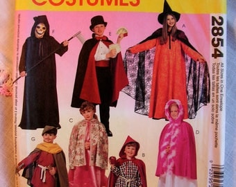 Halloween Easy 2 Hour Sew Costumes magician witch red riding hood robin hood reaper McCalls 2854 uncut factory folded sewing pattern