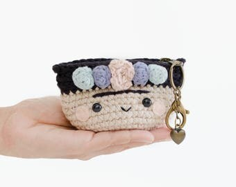 Crochet coin purse - Frida Kahlo No.3/ mini bag, crochet bag, flowers, colorful.