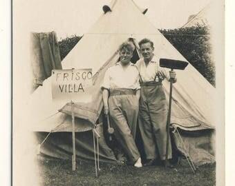 Men outside tent, camping, Vintage photograph c1930s
